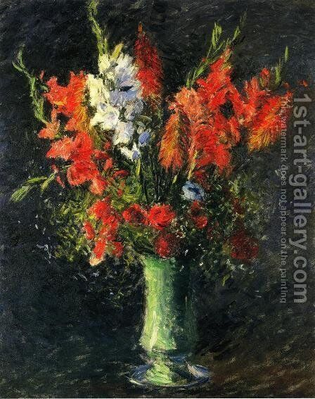 Vase Of Gladiolas by Gustave Caillebotte - Reproduction Oil Painting