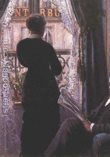 View Across A Balcony by Gustave Caillebotte - Reproduction Oil Painting