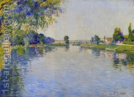 View Of The Seine In The Direction Of The Pont De Bezons by Gustave Caillebotte - Reproduction Oil Painting