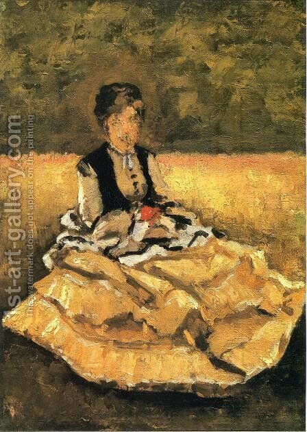 Woman Seated On The Grass by Gustave Caillebotte - Reproduction Oil Painting