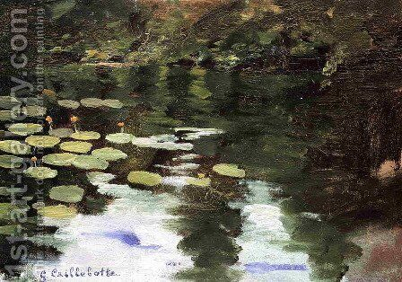 Yerres  On The Pond  Water Lilies by Gustave Caillebotte - Reproduction Oil Painting