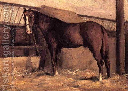 Yerres  Reddish Bay Horse In The Stable by Gustave Caillebotte - Reproduction Oil Painting