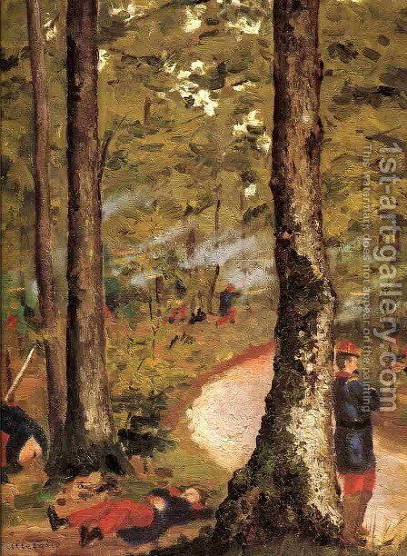 Yerres  Soldiers In The Woods by Gustave Caillebotte - Reproduction Oil Painting