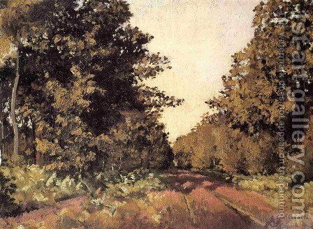 Yerres  Woods At La Grange  Path Of The Great Ha Ha by Gustave Caillebotte - Reproduction Oil Painting