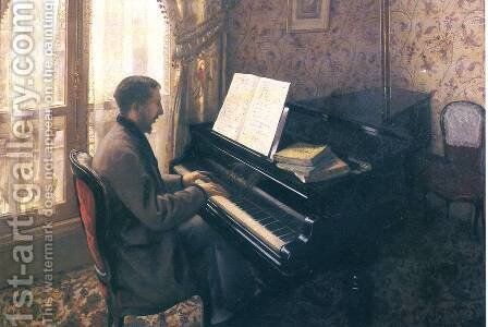 Young Man Playing The Piano by Gustave Caillebotte - Reproduction Oil Painting
