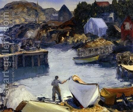 Cleaning His Lobster Boat by George Wesley Bellows - Reproduction Oil Painting