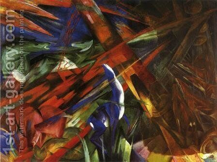 Animal Destinies Aka The Trees Show Their Rings  The Animals Their Veins by Franz Marc - Reproduction Oil Painting