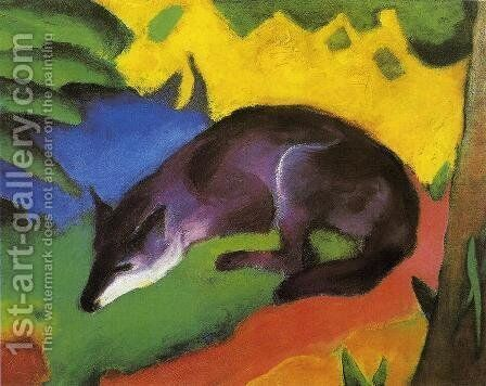 Blue Black Fox by Franz Marc - Reproduction Oil Painting