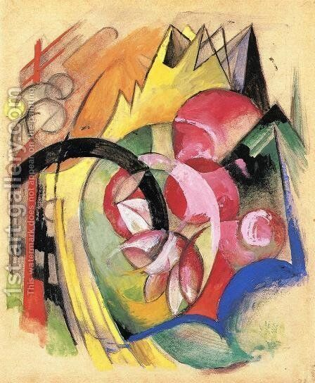 Coloful Flowers Aka Abstract Forms by Franz Marc - Reproduction Oil Painting