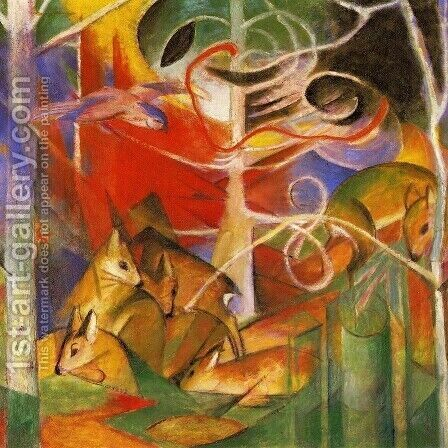 Deer In The Forest by Franz Marc - Reproduction Oil Painting