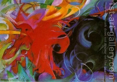 Fighting Forms by Franz Marc - Reproduction Oil Painting