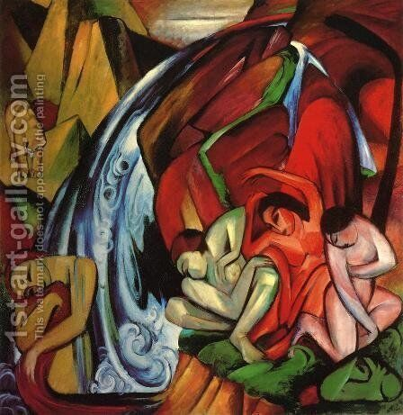 The Waterfall by Franz Marc - Reproduction Oil Painting