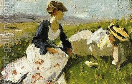 Two Women On The Hillside  Sketch by Franz Marc - Reproduction Oil Painting
