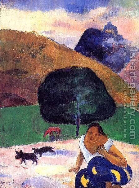 Landscape With Black Pigs And A Crouching Tahitian by Paul Gauguin - Reproduction Oil Painting