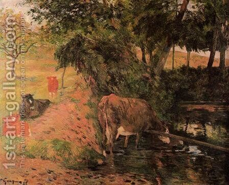 Landscape With Cows In An Orchard by Paul Gauguin - Reproduction Oil Painting