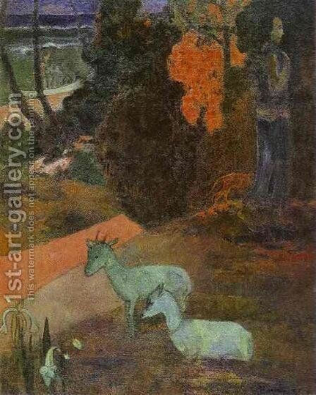 Landscape With Two Goats by Paul Gauguin - Reproduction Oil Painting