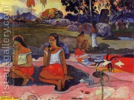 Nave Nave Moe Aka Delightful Drowsiness by Paul Gauguin - Reproduction Oil Painting