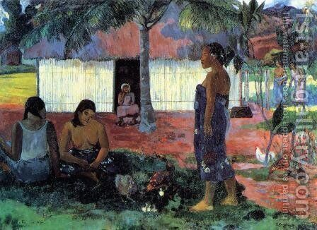 No Te Aha Oe Riri Aka Why Are You Angry by Paul Gauguin - Reproduction Oil Painting