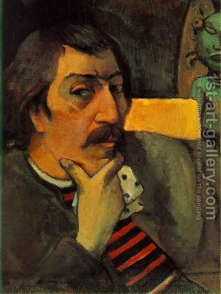 Portrait Of The Artist With The Idol by Paul Gauguin - Reproduction Oil Painting