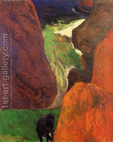 Seascape With Cow On The Edge Of A Cliff by Paul Gauguin - Reproduction Oil Painting