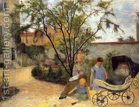 The Family In The Garden  Rue Carcel by Paul Gauguin - Reproduction Oil Painting