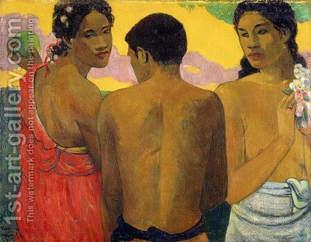 Three Tahitians by Paul Gauguin - Reproduction Oil Painting