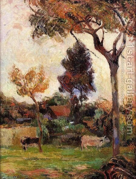 Two Cows In The Meadow by Paul Gauguin - Reproduction Oil Painting