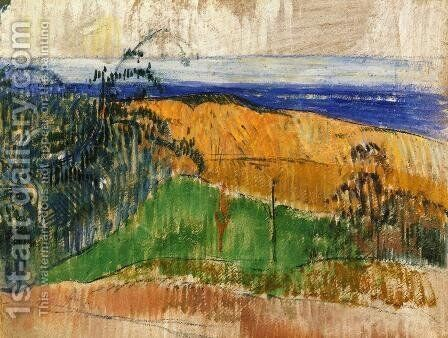 View Of The Beach At Bellangenay by Paul Gauguin - Reproduction Oil Painting
