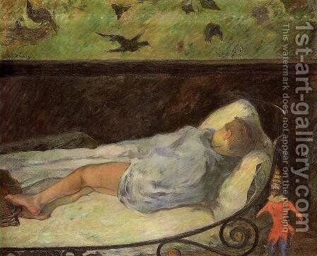 Young Girl Dreaming Aka Study Of A Child Asleep  The Painters Daughter  Line  Rue Carcel by Paul Gauguin - Reproduction Oil Painting