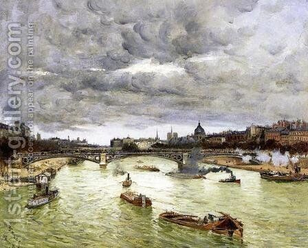 The Seine At Paris With The Pont Du Carousel Aka The Seine At Paris Pont Alexander III by Frank Myers Boggs - Reproduction Oil Painting