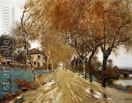A Lane Of Plane Trees by Jean-Francois Raffaelli - Reproduction Oil Painting