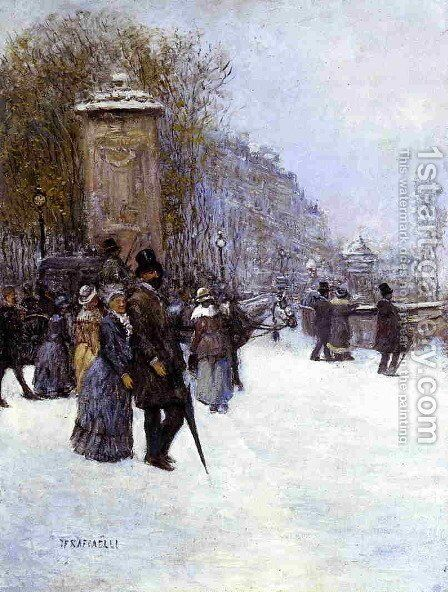 Paris  Promenade by Jean-Francois Raffaelli - Reproduction Oil Painting