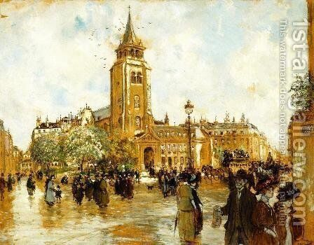 Place Saint Germain Des Pres by Jean-Francois Raffaelli - Reproduction Oil Painting