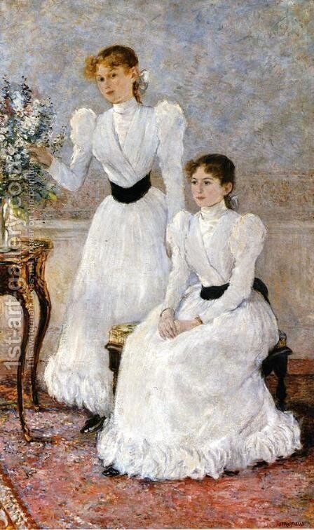 Portrait Of Judithy And Gabrielle by Jean-Francois Raffaelli - Reproduction Oil Painting