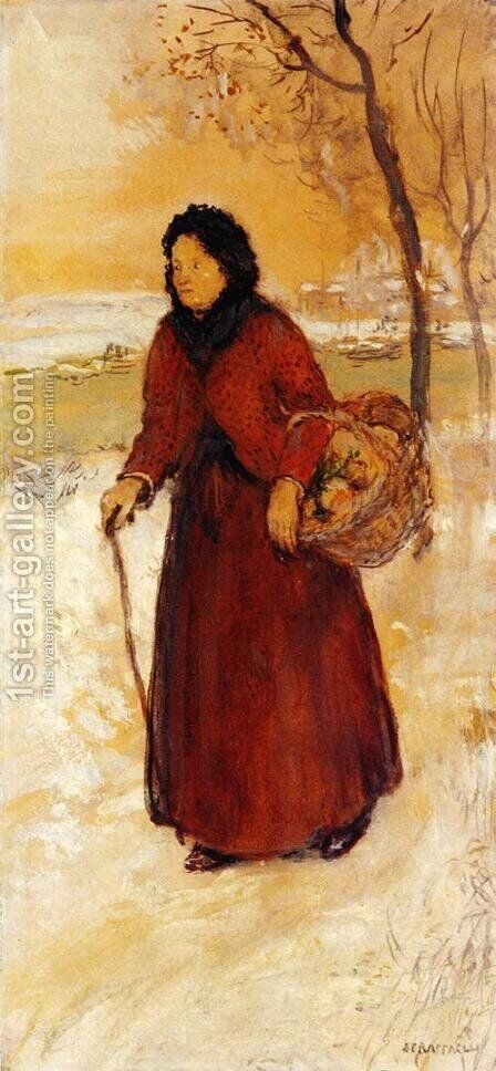 Returning From Market by Jean-Francois Raffaelli - Reproduction Oil Painting