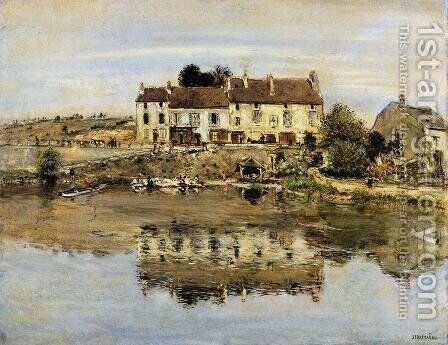 Small Houses On The Banks Of The Oise by Jean-Francois Raffaelli - Reproduction Oil Painting