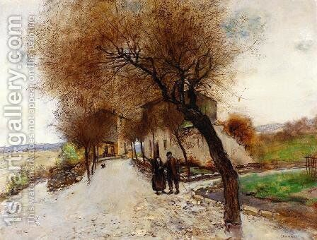 Strollers Leaving A Village by Jean-Francois Raffaelli - Reproduction Oil Painting