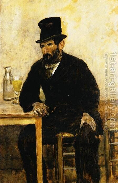 The Absinth Drinker by Jean-Francois Raffaelli - Reproduction Oil Painting
