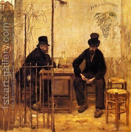 The The Absinthe Drinkers Aka Les Buveurs D Absin by Jean-Francois Raffaelli - Reproduction Oil Painting