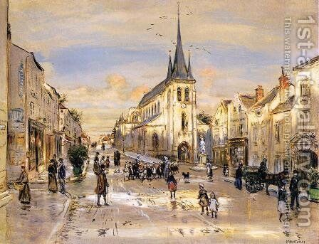 The Place Saint Jean In Nemours by Jean-Francois Raffaelli - Reproduction Oil Painting