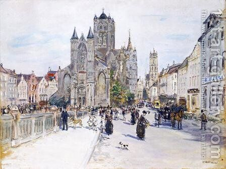 View Of Ghent by Jean-Francois Raffaelli - Reproduction Oil Painting