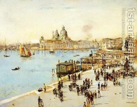 View Of Venice by Jean-Francois Raffaelli - Reproduction Oil Painting