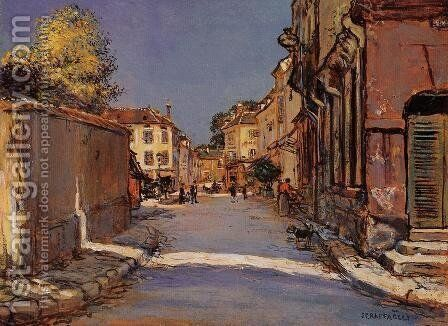 Village Street by Jean-Francois Raffaelli - Reproduction Oil Painting