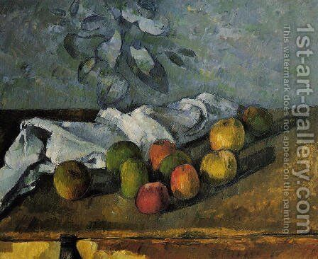 Apples And Napkin by Paul Cezanne - Reproduction Oil Painting