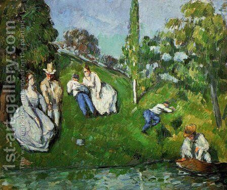 Couples Relaxing By A Pond by Paul Cezanne - Reproduction Oil Painting