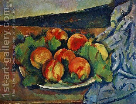 Dish Of Peaches by Paul Cezanne - Reproduction Oil Painting