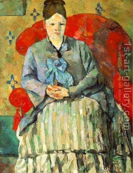 Hortense Fiquet In A Striped Skirt by Paul Cezanne - Reproduction Oil Painting