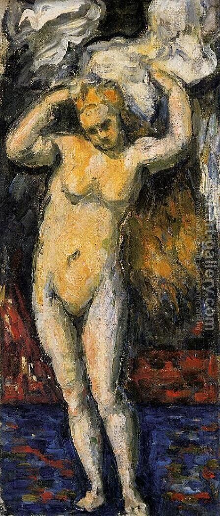 Standing Bather  Drying Her Hair by Paul Cezanne - Reproduction Oil Painting