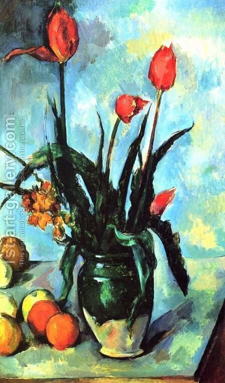 Tulips In A Vase by Paul Cezanne - Reproduction Oil Painting