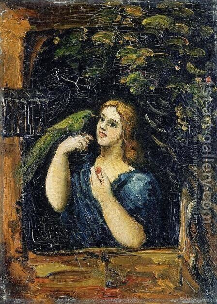 Woman With Parrot by Paul Cezanne - Reproduction Oil Painting
